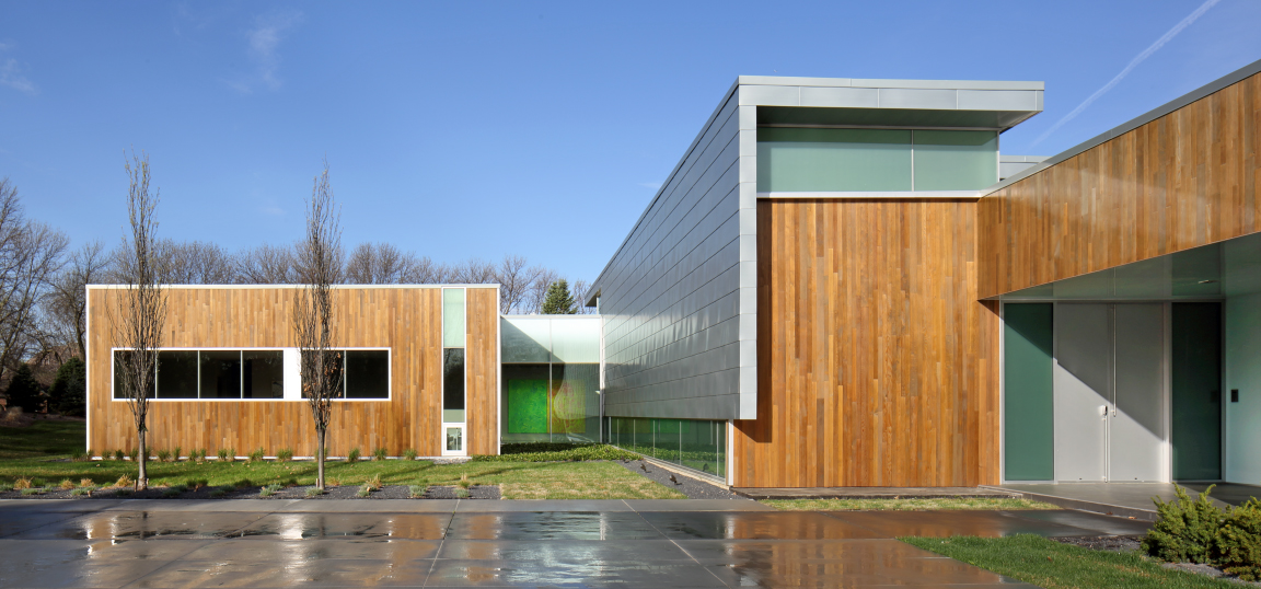 modern house clad in zinc and cedar