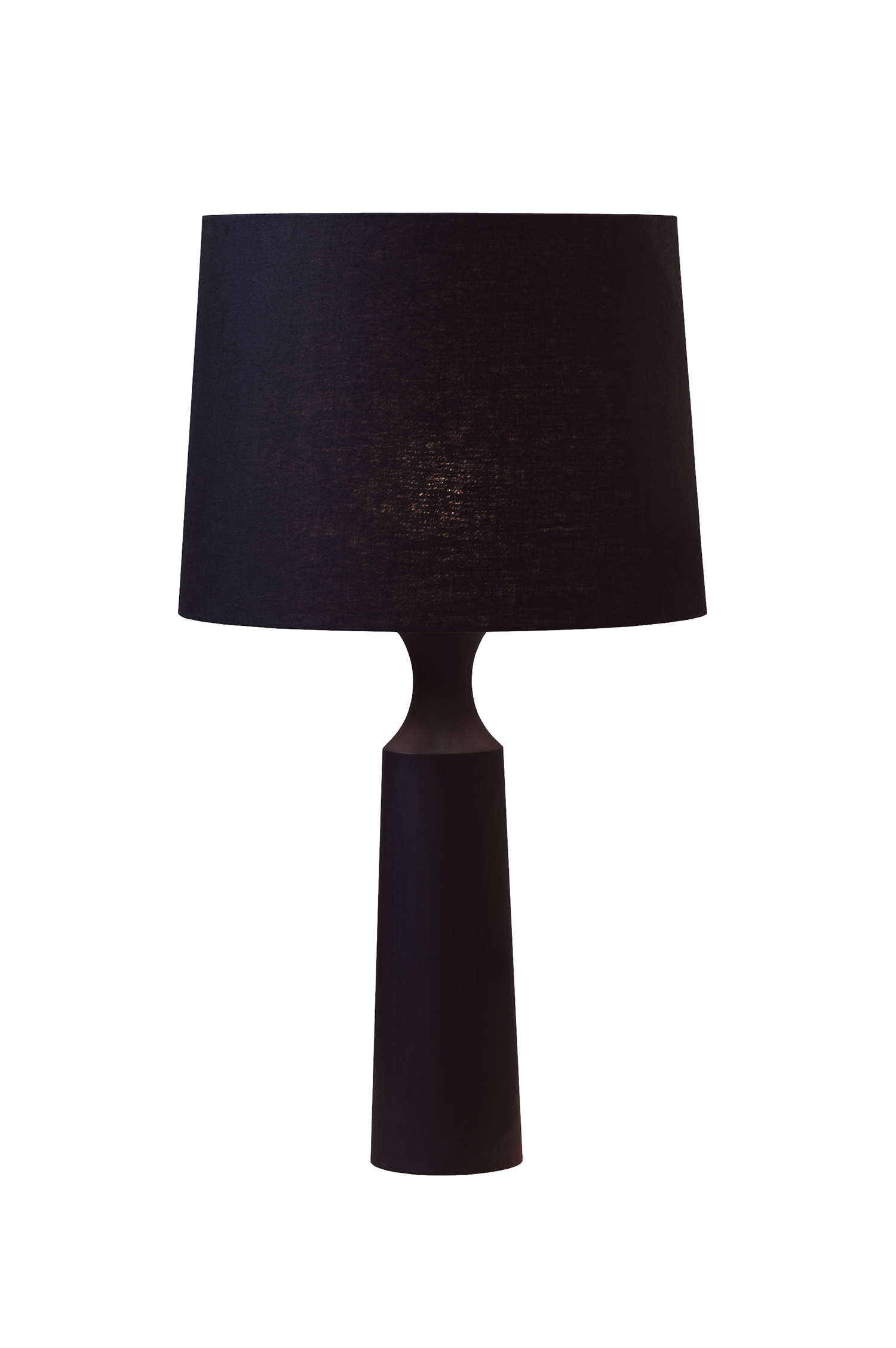 dark stained tulipwood lamp with black woven flex covering