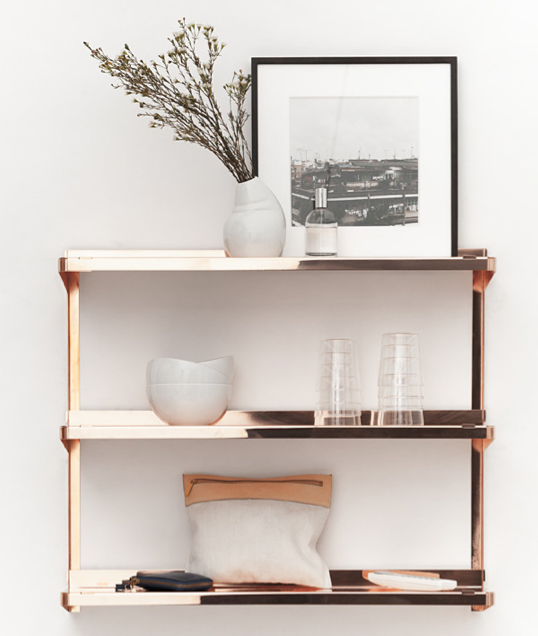 boltless lacquered copper shelving unit
