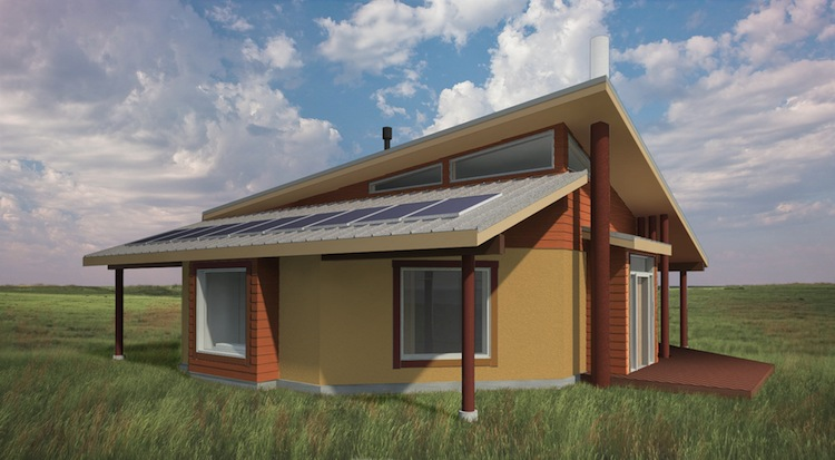 Architecture for humanity home with raised roof corner