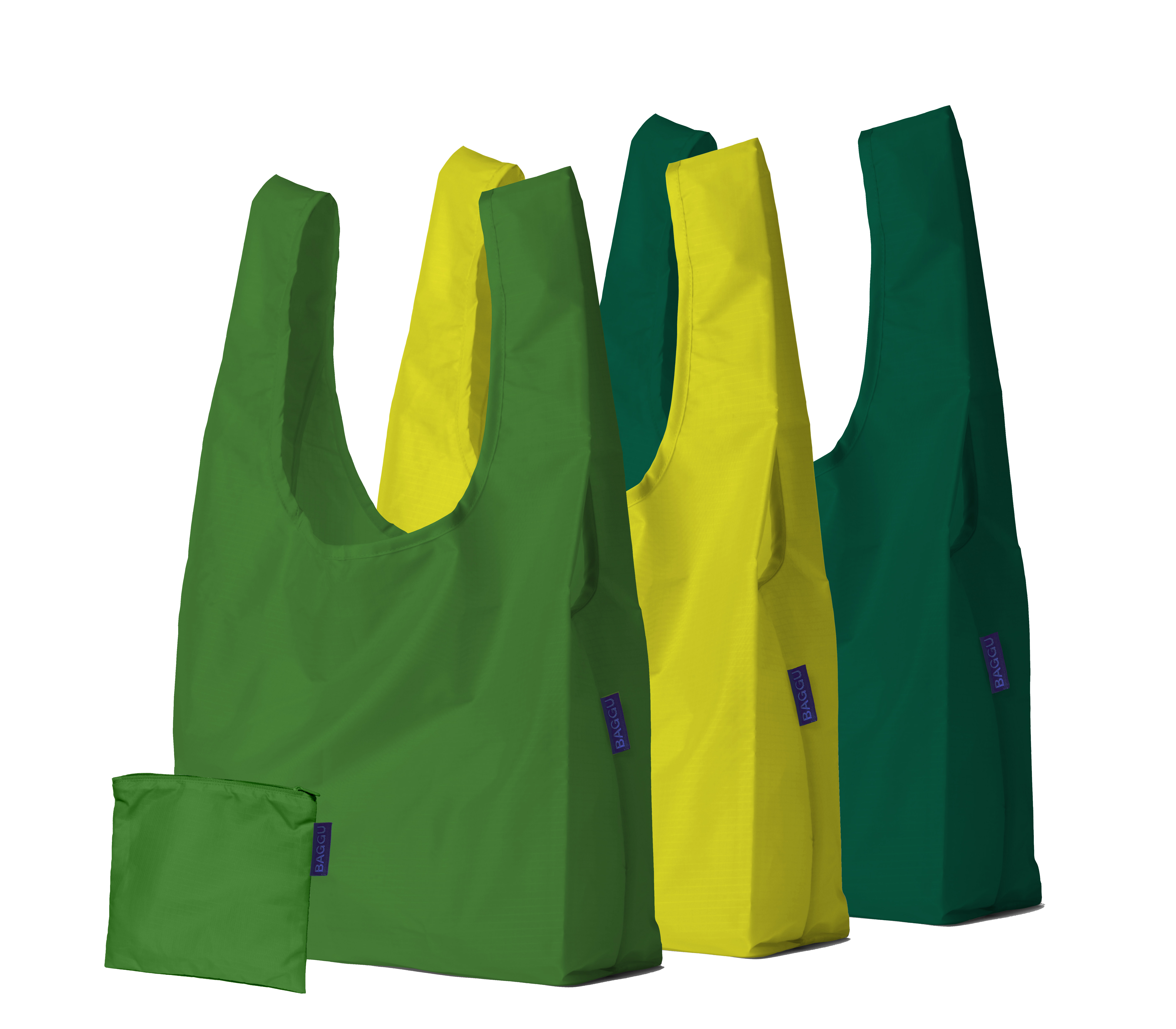 Set of three reusable nylon tote bags in shades of green