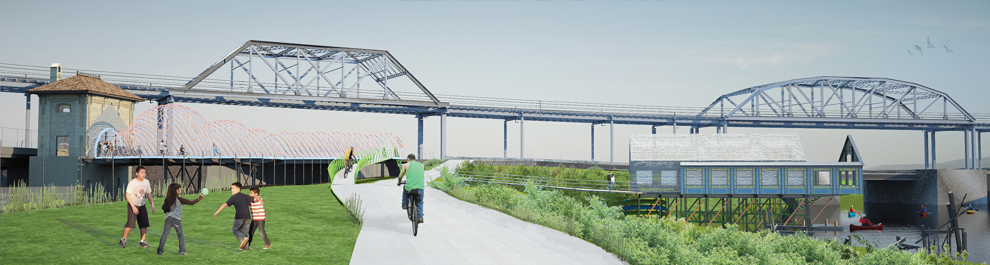 Revitalized Bronx River plan near the elevated 6 train