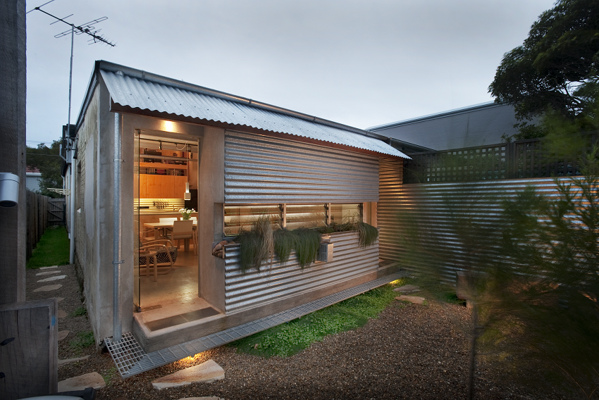 Exterior of the Tamarama Semi-Detached Project with corrugated metal walls