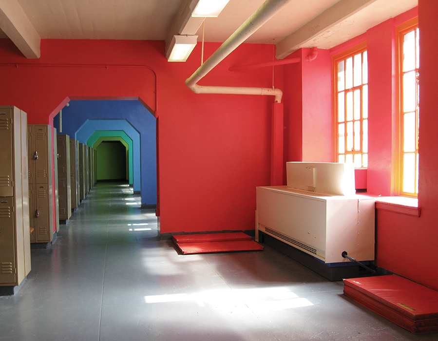 High school hallway with color treatment by Publicolor.