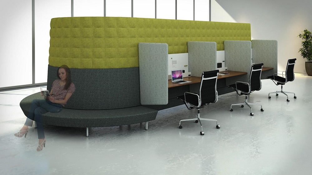 Branch Modular Office concept with desks and sofa
