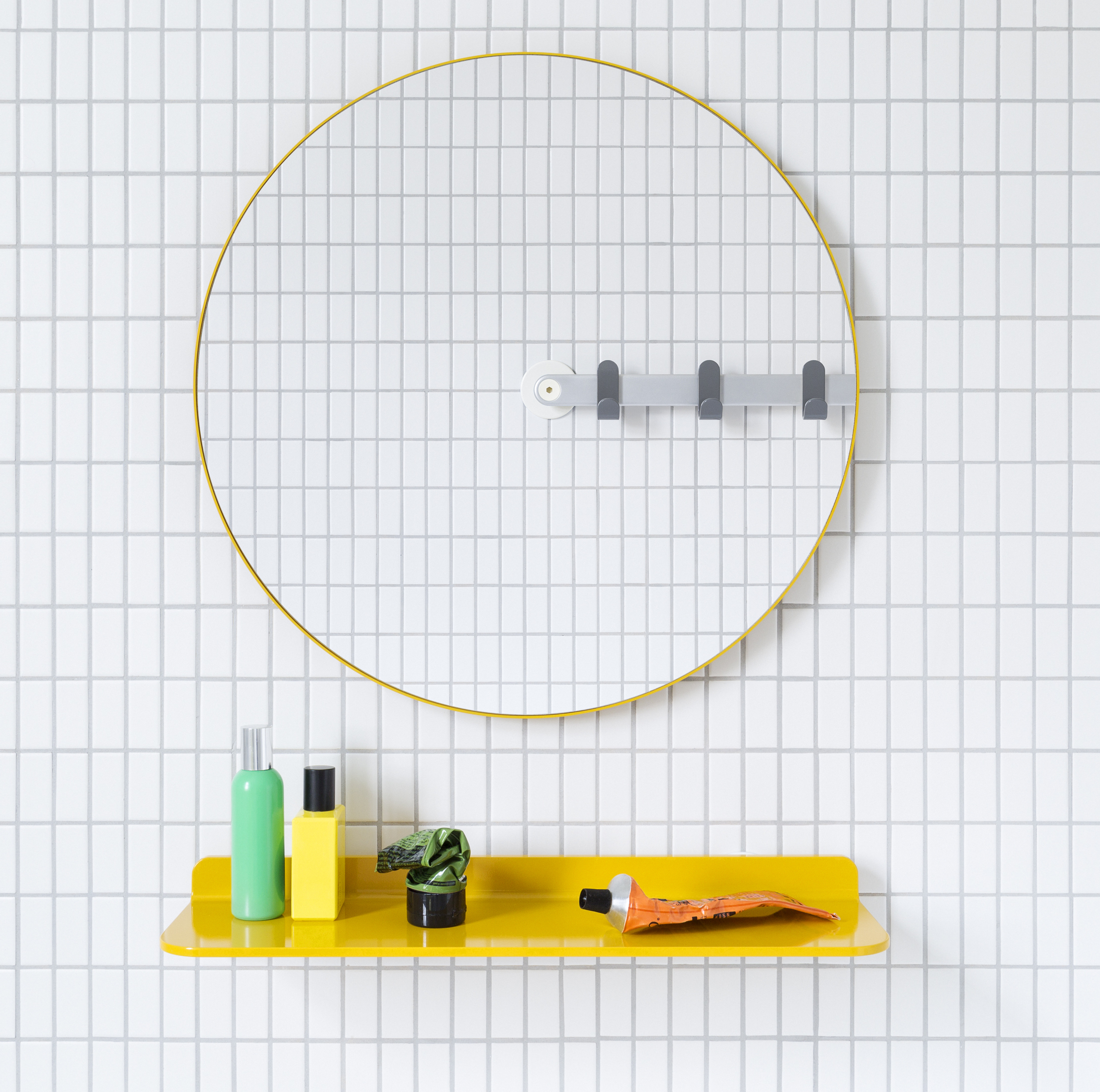 Sabi Space mirror and shelf, universal design accessories for the bathroom by MAP Barber Osgerby