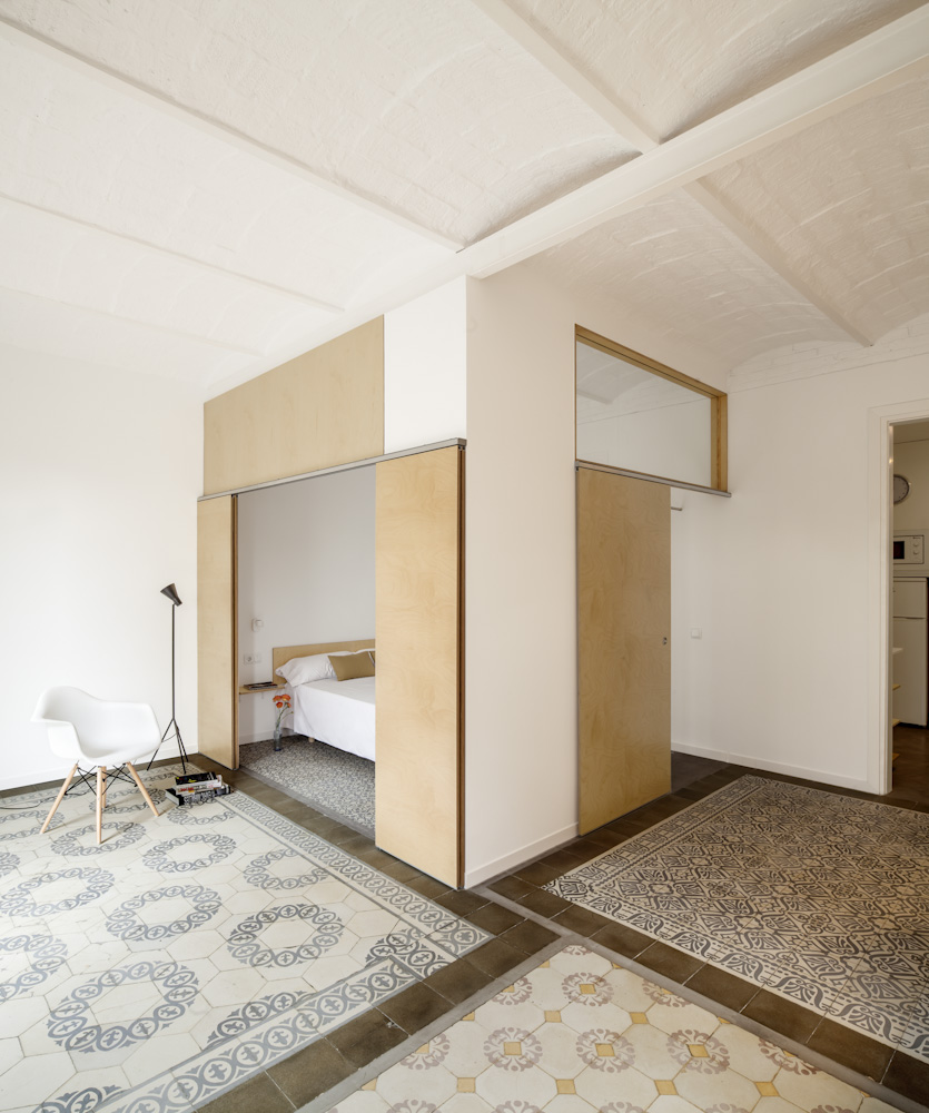 Adrian Elizalde's Apartment Renovation in Barcelona while tiled mosaic floor