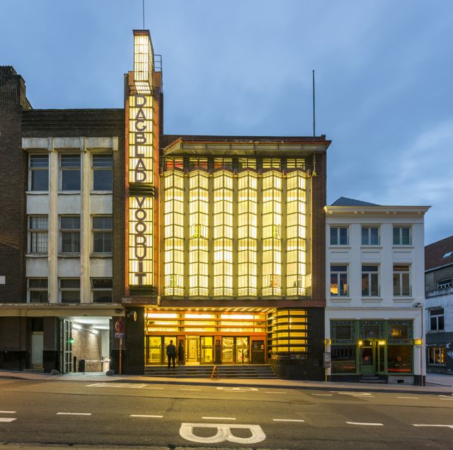 Art Deco Facade of Backstay Hotel in Ghent