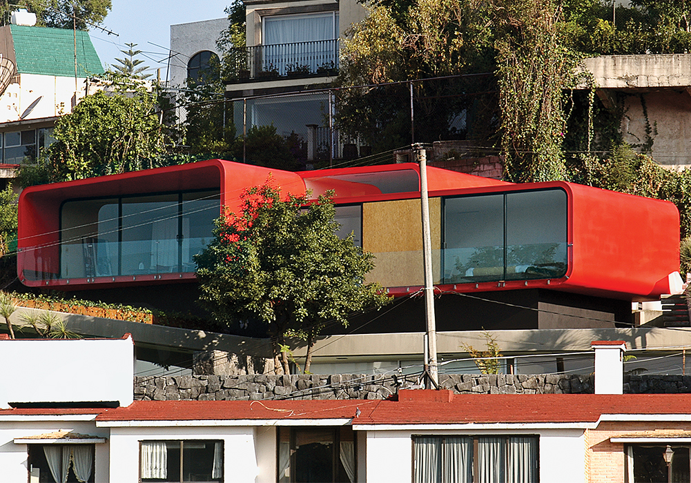 Apartment with red steel facade in Mexico by Rojkind