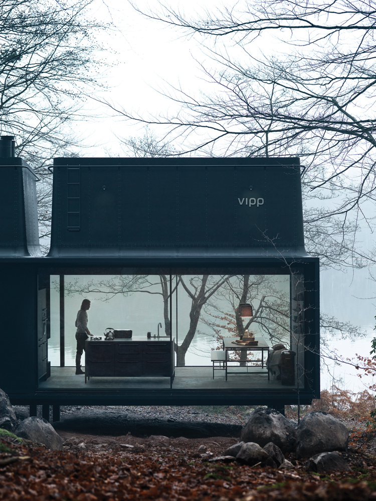 Exterior of Vipp Shelter prefab