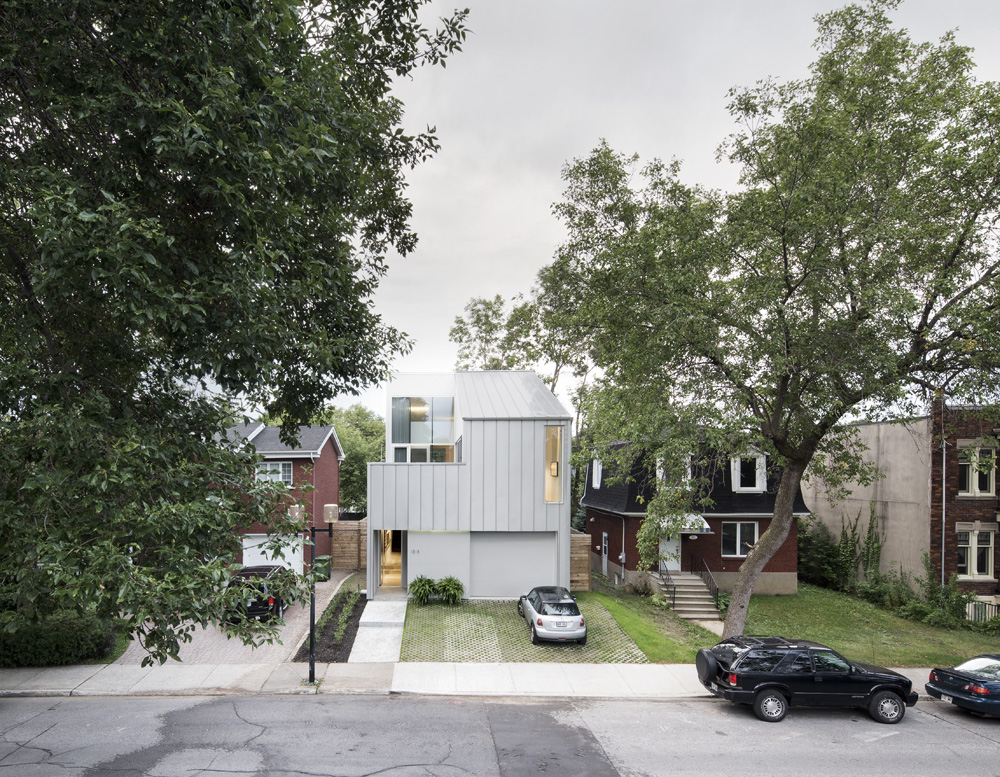 modern house in montreal with metal facade