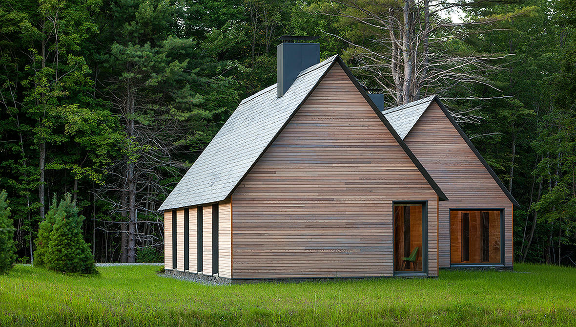exterior of wood-clad marlboro music festival cabins