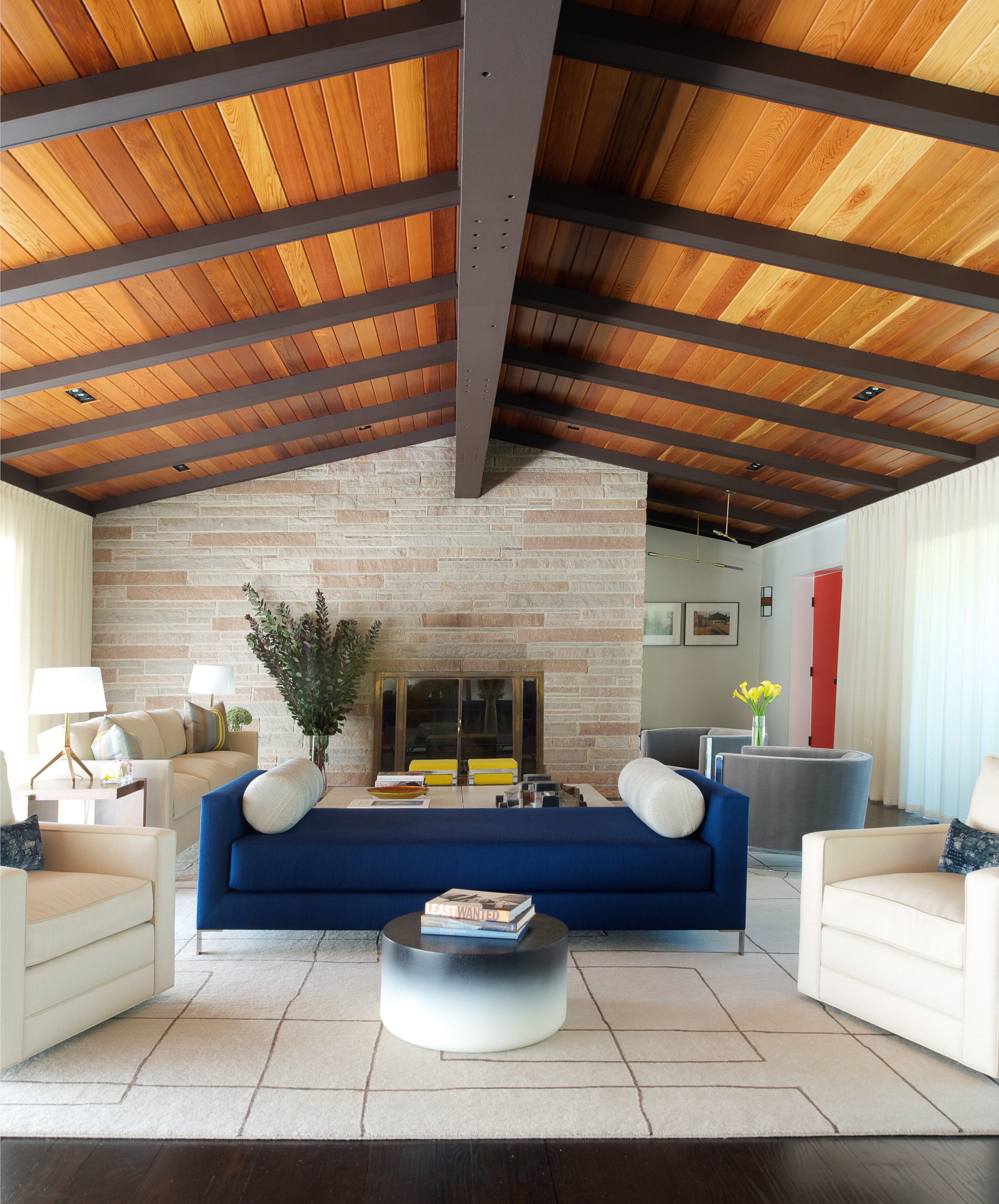 Stonefox Residence with cedar ceiling panels