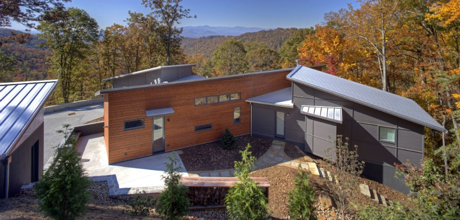 Aleph Residence exterior from above, Asheville, NC