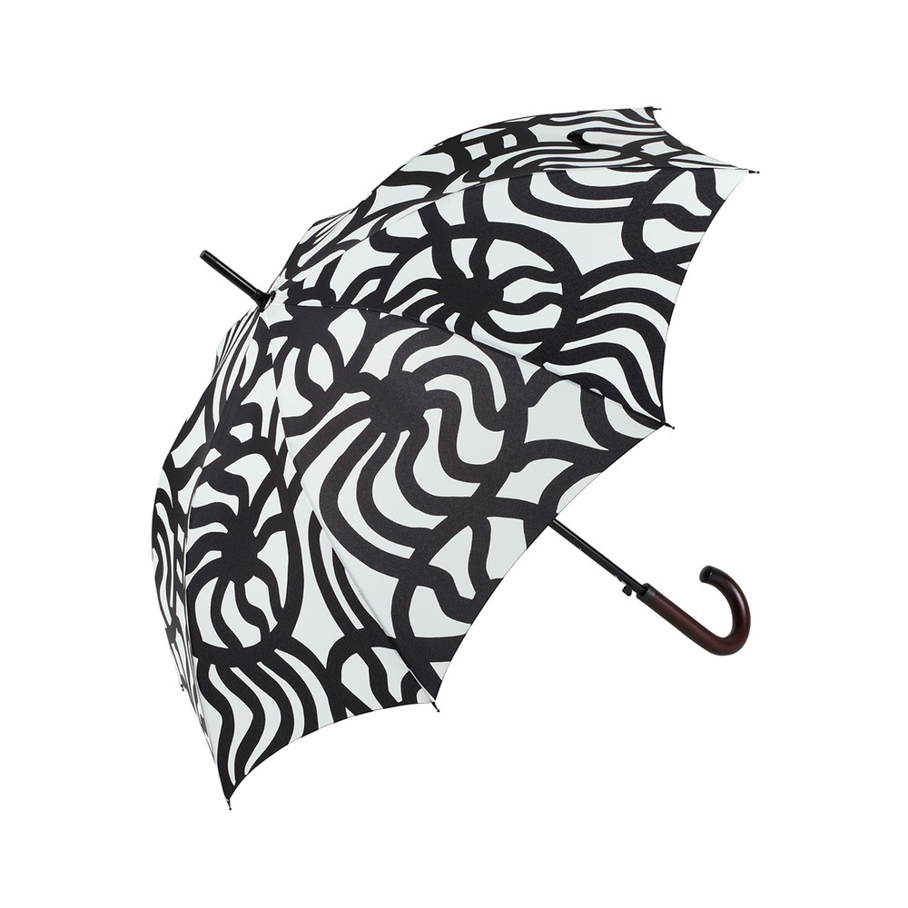 Cheerfully printed umbrella in black and white print