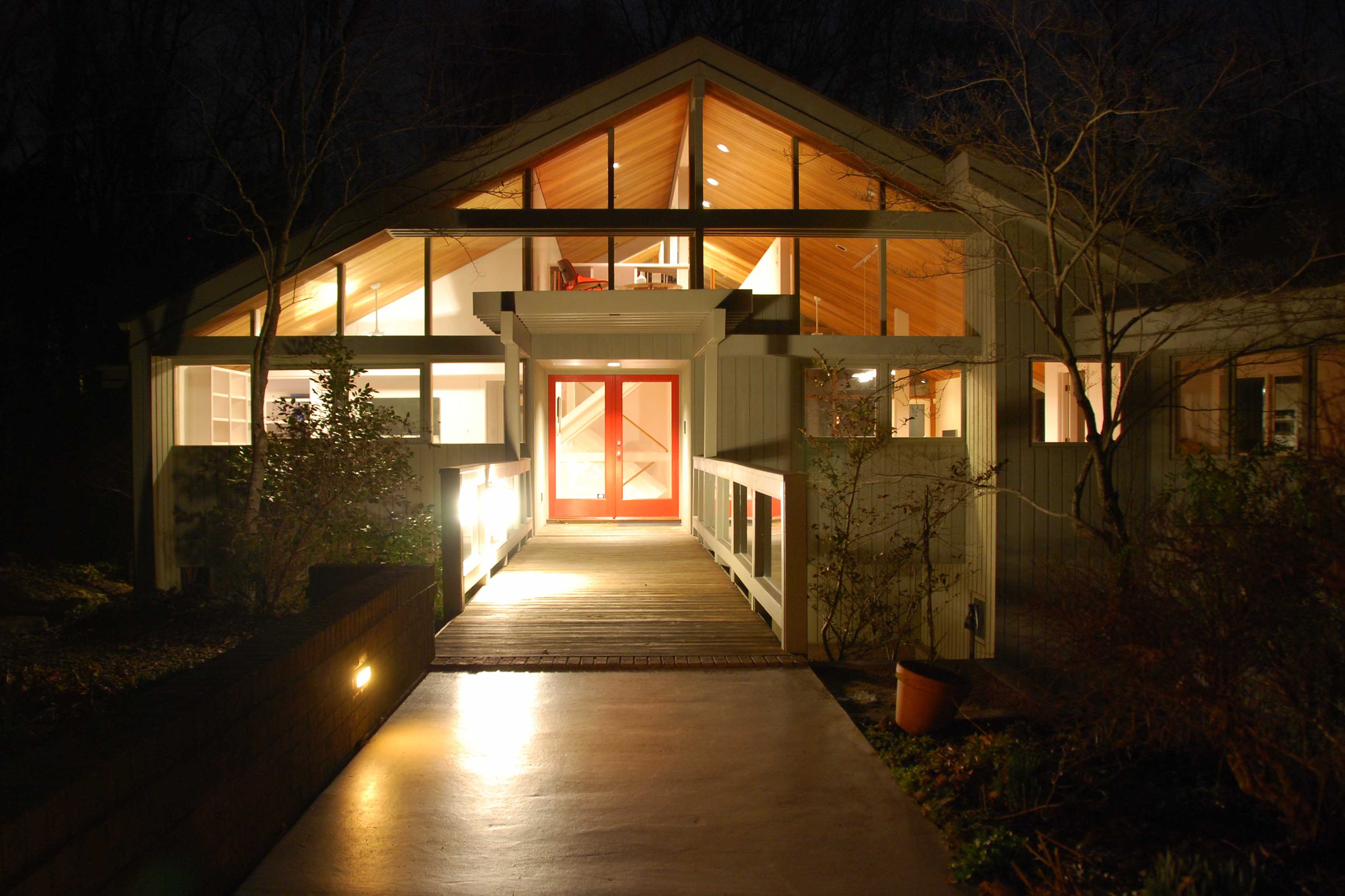 Chapel Hill Renovation Front Exterior at Night