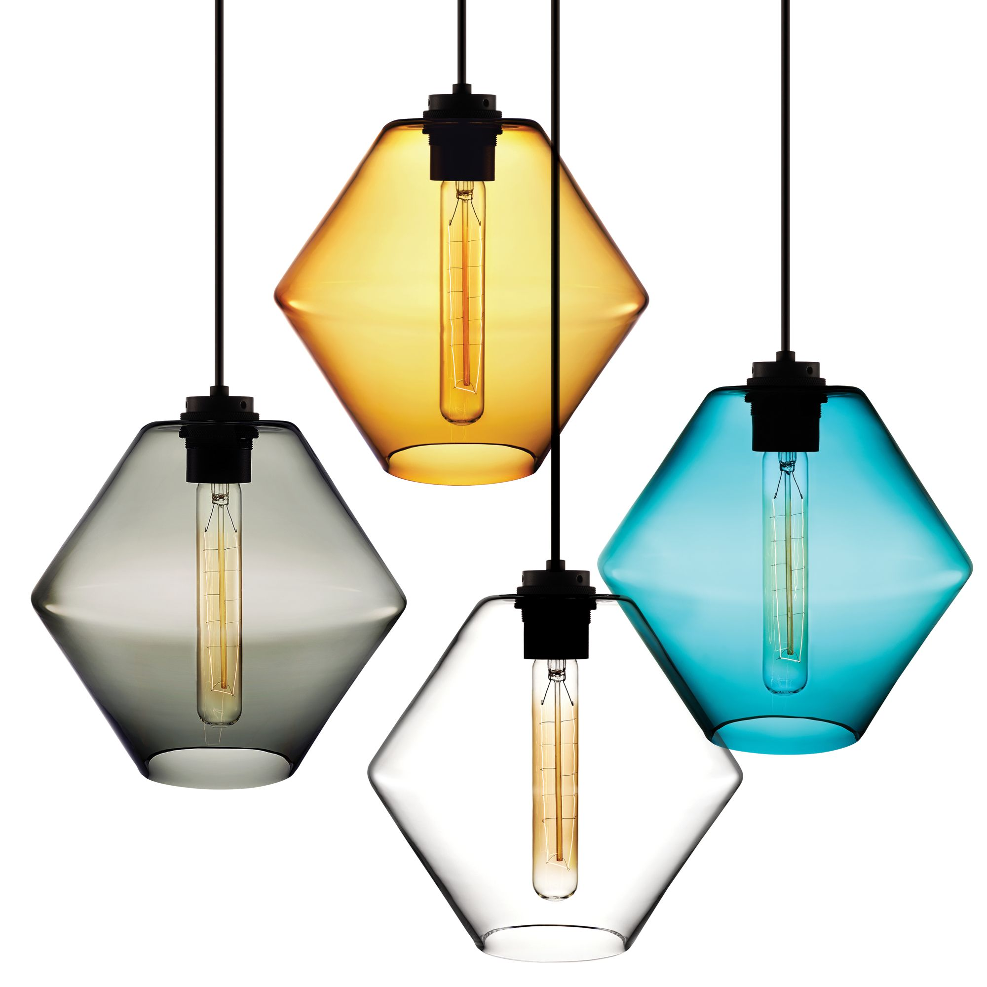 Sculptural pendant light available in several colors