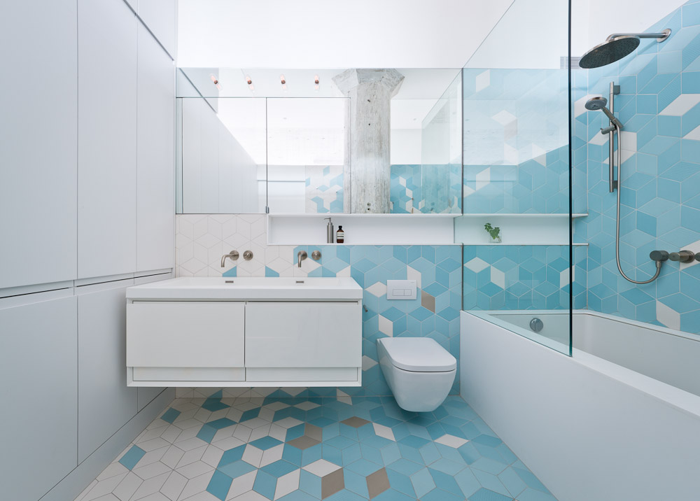 Gray and blue tiles in a Brooklyn bathroom