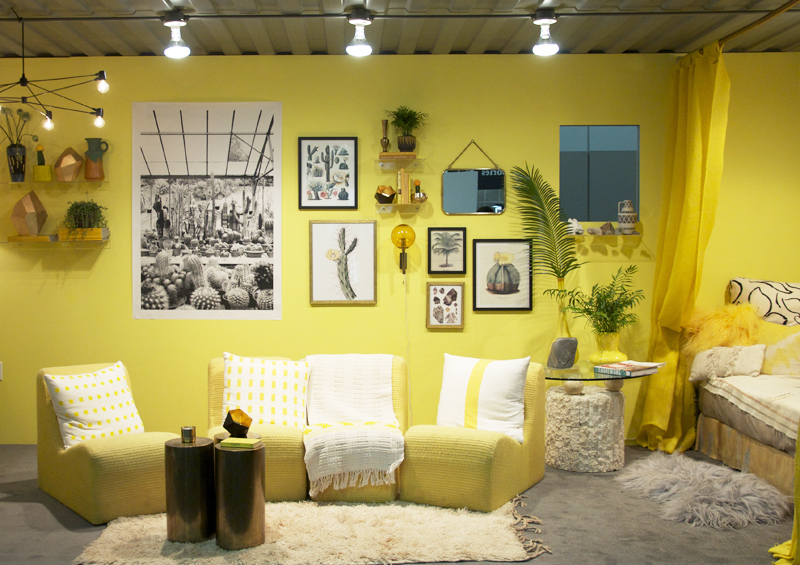 Interior Designer Justina Blakeney created this bright yellow space for YP at Dwell on Design Los Angeles 2015