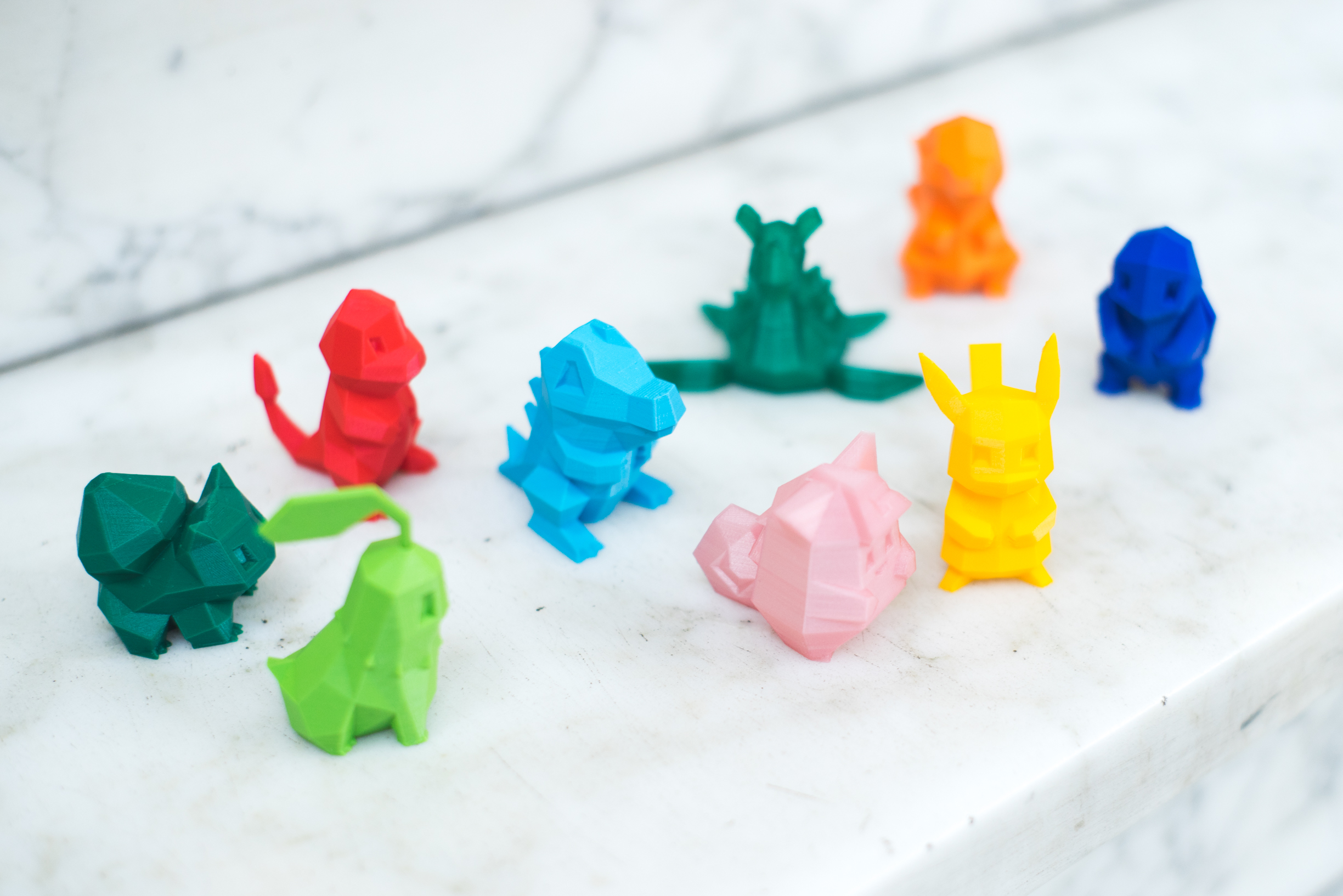 3D printed Pokemon toys.