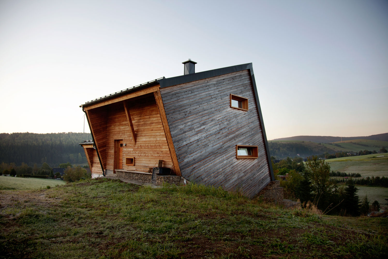 Geometric wood cabin in Oberwiesenthal, Germany