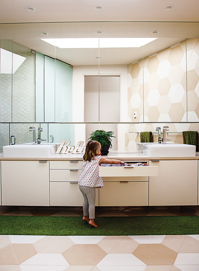 Modern prefab modular and triangular home by HOMB in Portland bathroom with hexagonal tiles