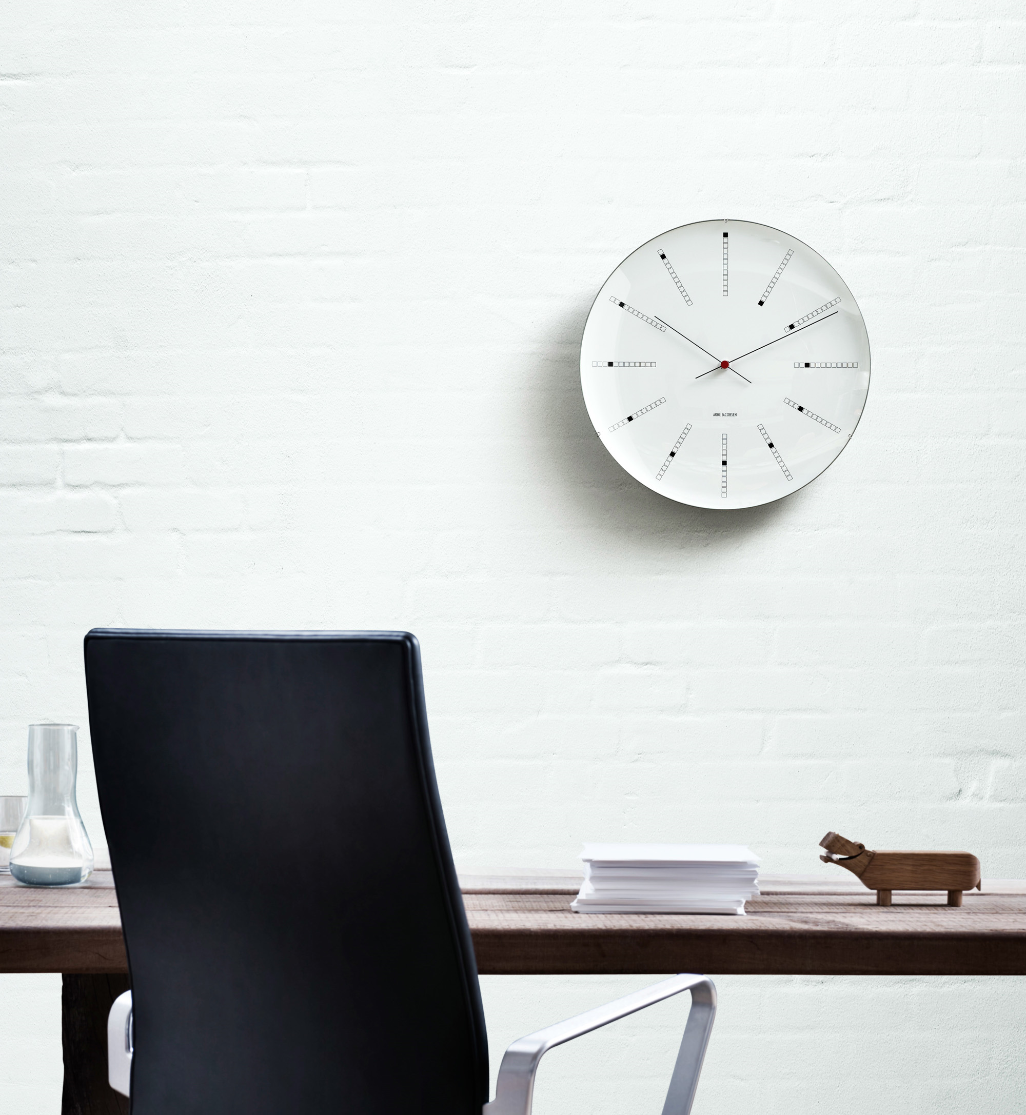 Classic wall clock with distinctive markers
