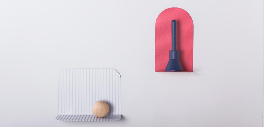 Alex Ortega Rain shelves exhibited at Salone Satellite 2015