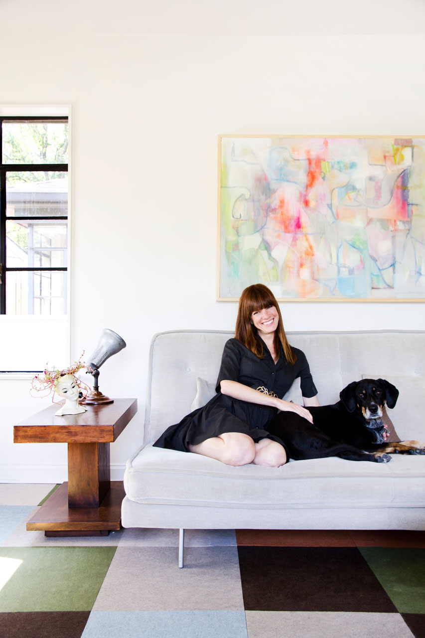 Allison Burke's Austin Home Renovation, Living Room sitting with dog Blue