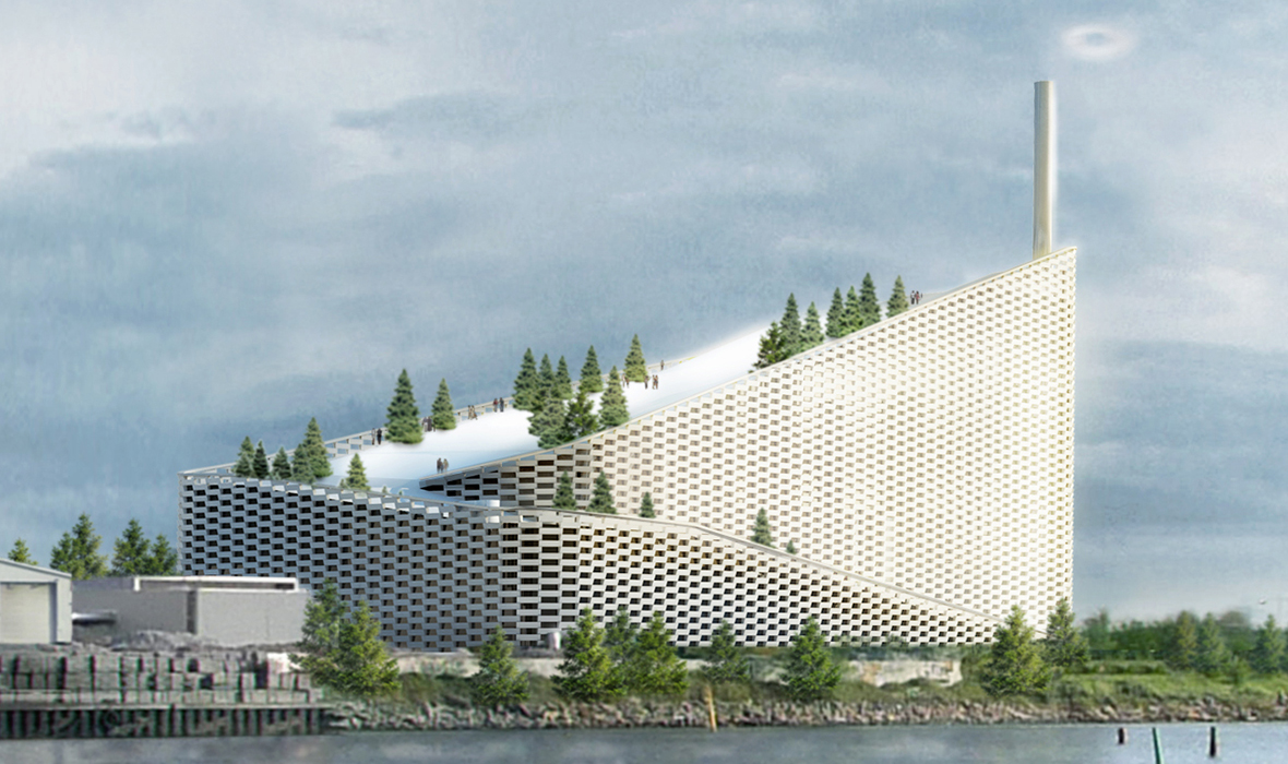 modern energy amager bakke plant copenhagen ski slope roof smokestack