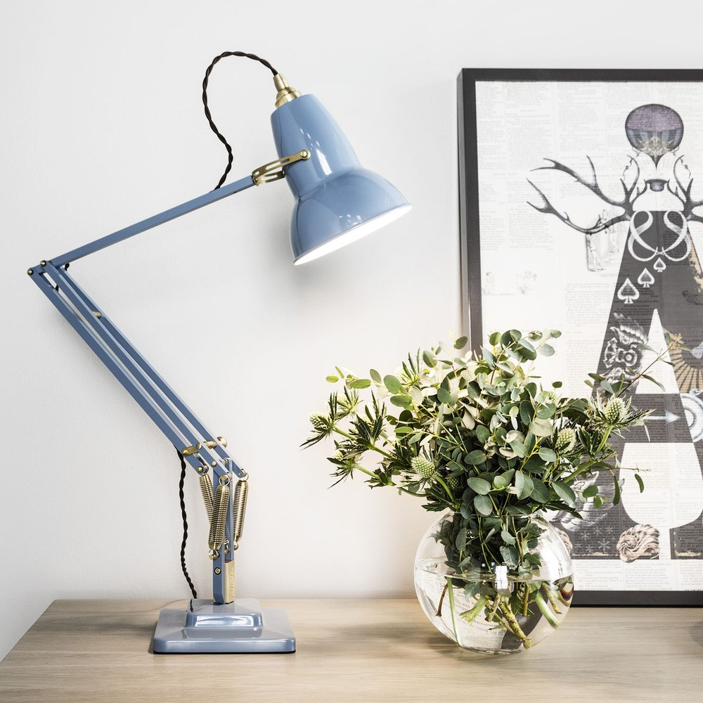 Iconic British task lamp in dusty blue color