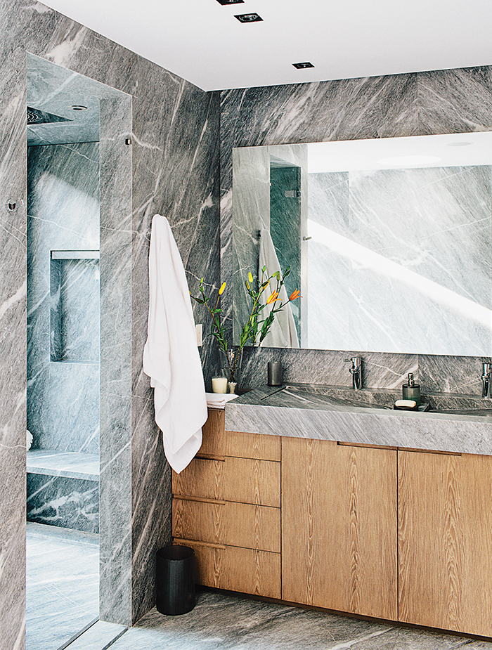 Gray marble bathroom in a Mexico City home