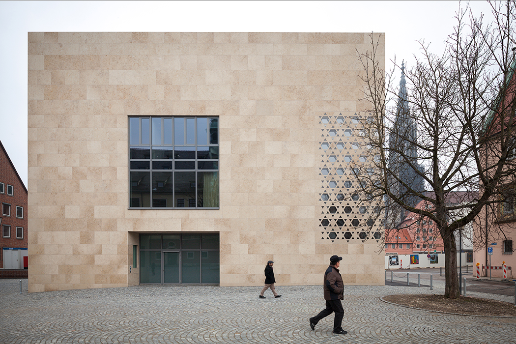 Modern religious architecture like Weinhof Synagogue exterior