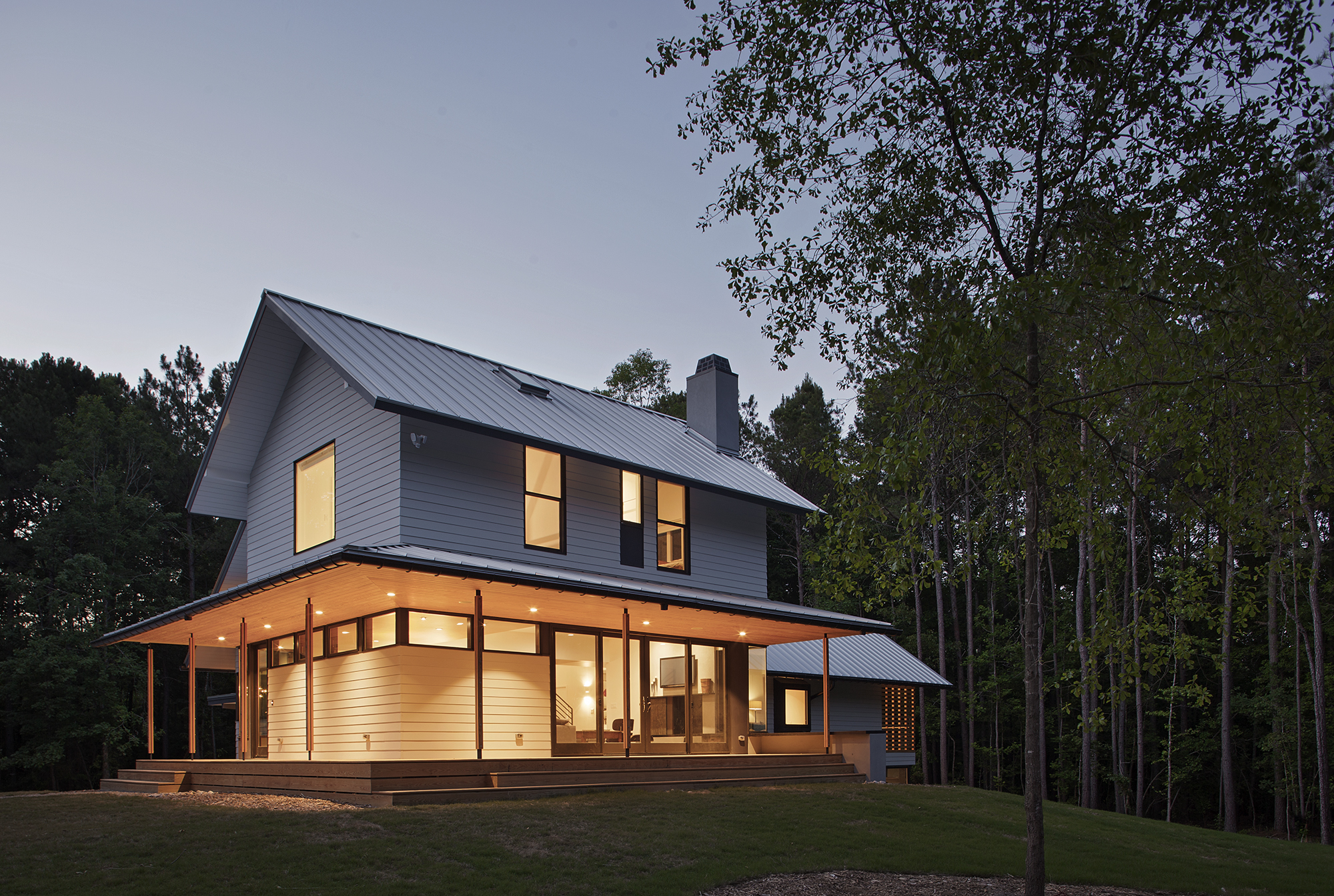 HardiePlank Lap Siding on modern-rustic North Carolina home.