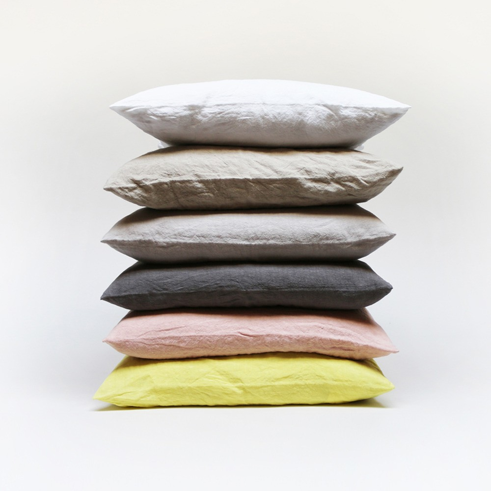 Soft stone-washed linen throw pillow covers