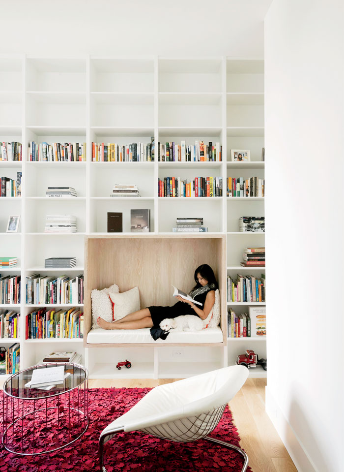 Modern Texas home library with built-in reading nook