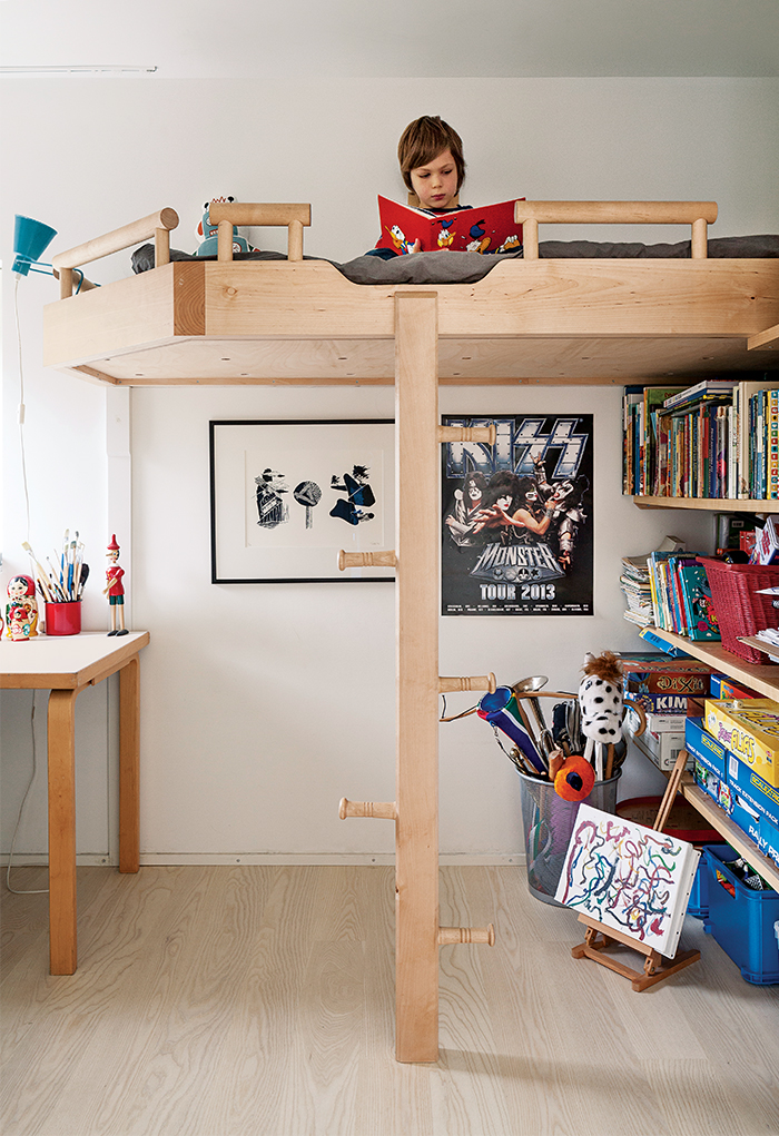 Modern home in Finland with sauna has birch bunk beds in the kids room