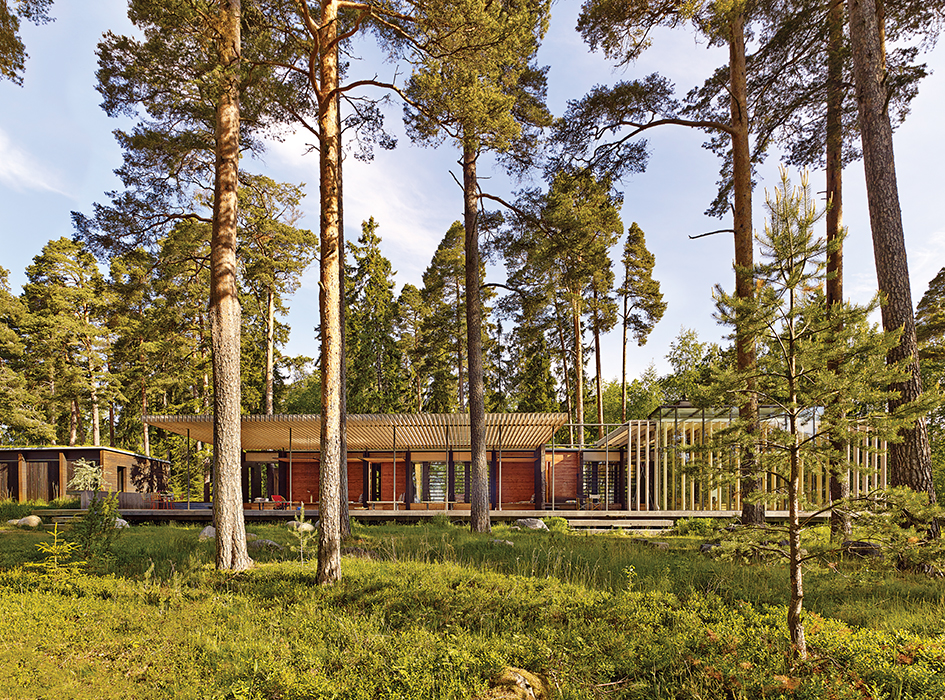 Swedish guesthouse pine forest facade