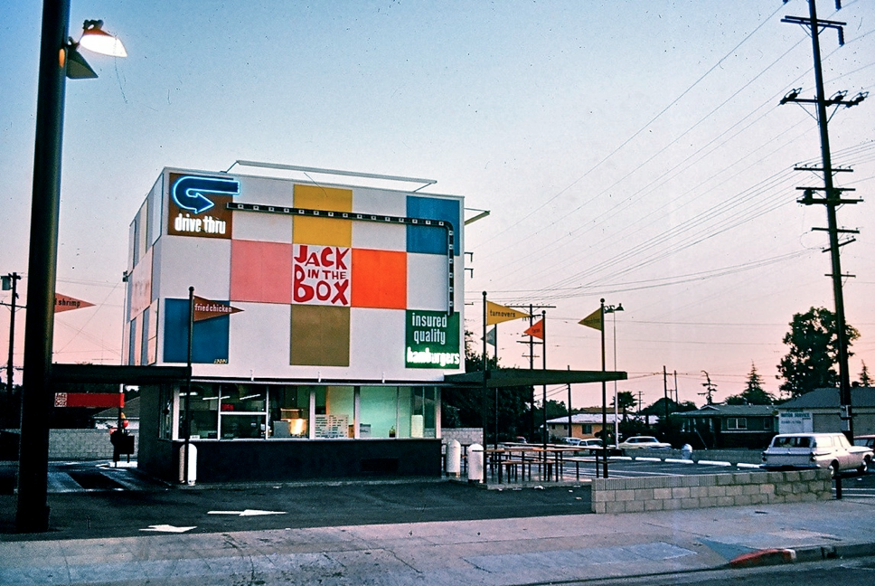 """Jack in the Box, Alhambra, 1968, Kodachrome image form the Charles Phoenix """"Slibrary"""" Collection."""