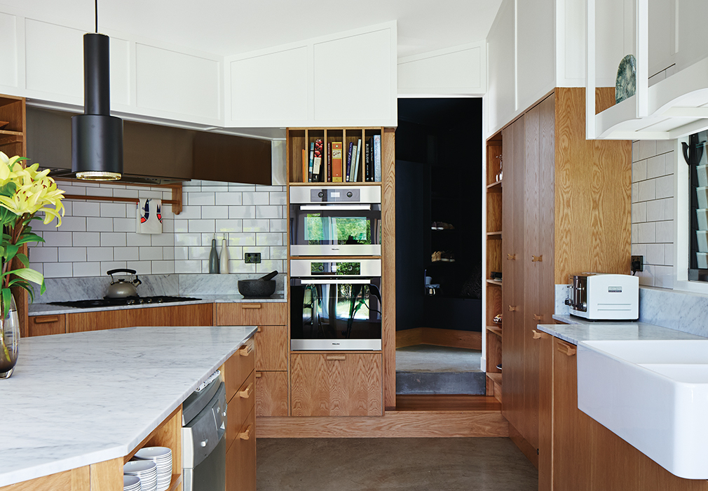 kitchen confidential tiles custom cabinetry oak veneer timber house