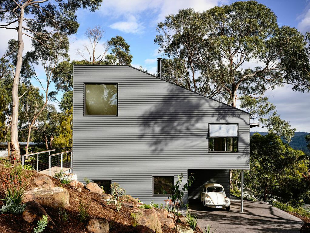 Modern angled beach house in Australia
