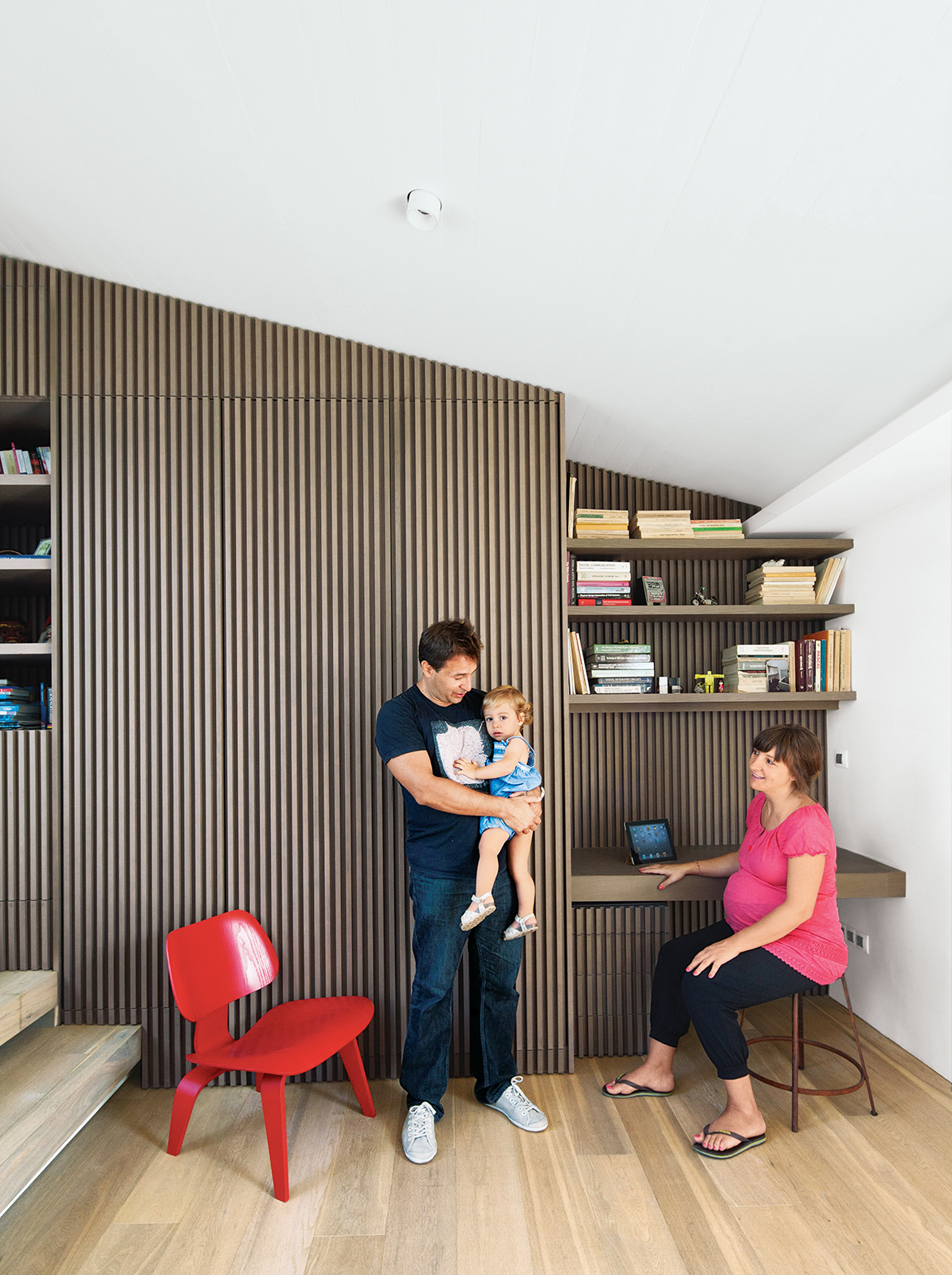modern lycabettus penthouse apartment office with oak vertical slats and vintage stool