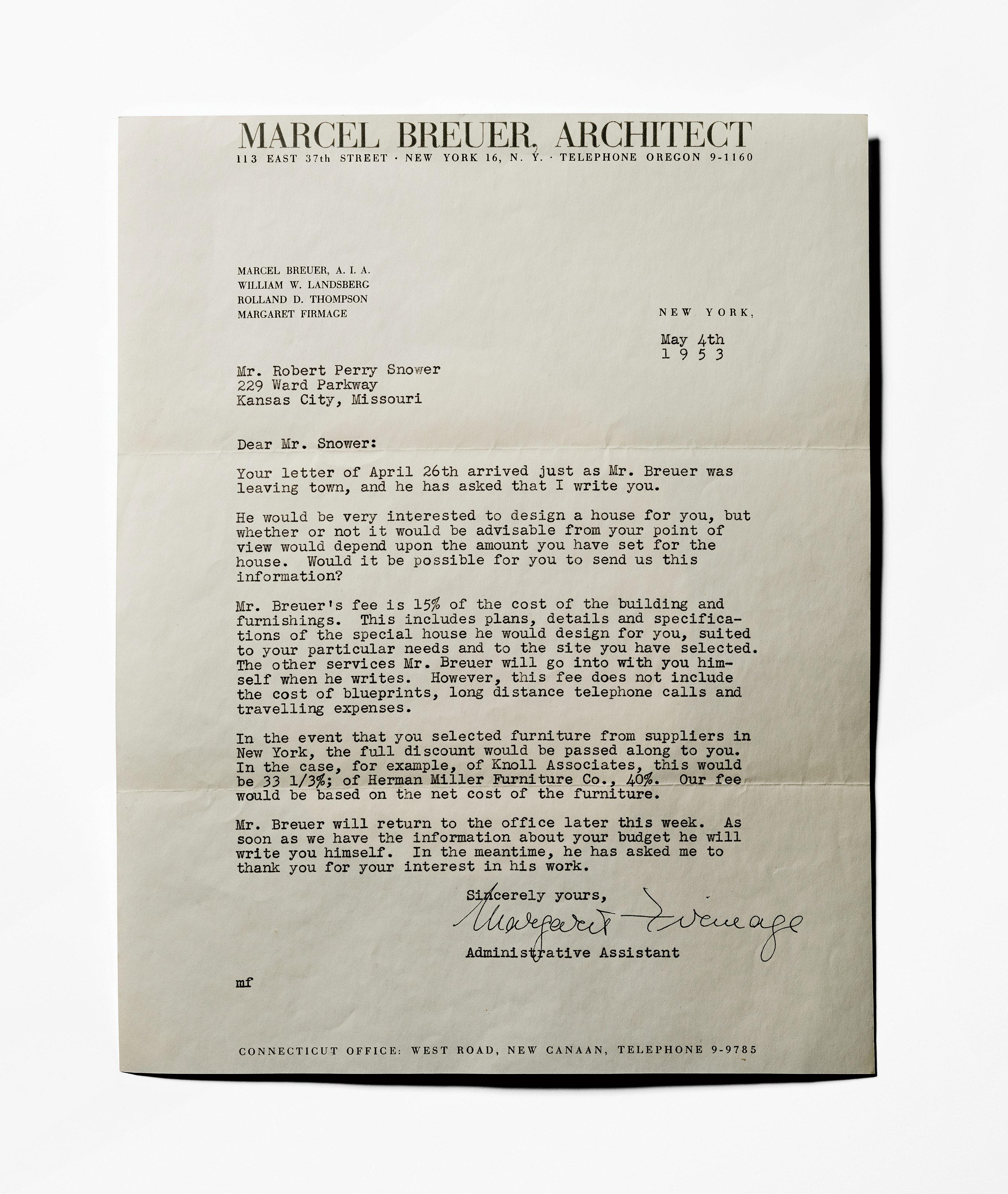 Letter from Marcel Breuer