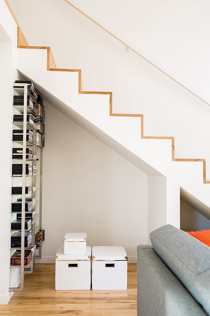 Affordable Kansas City home stairs with extra storage underneath and maple treads