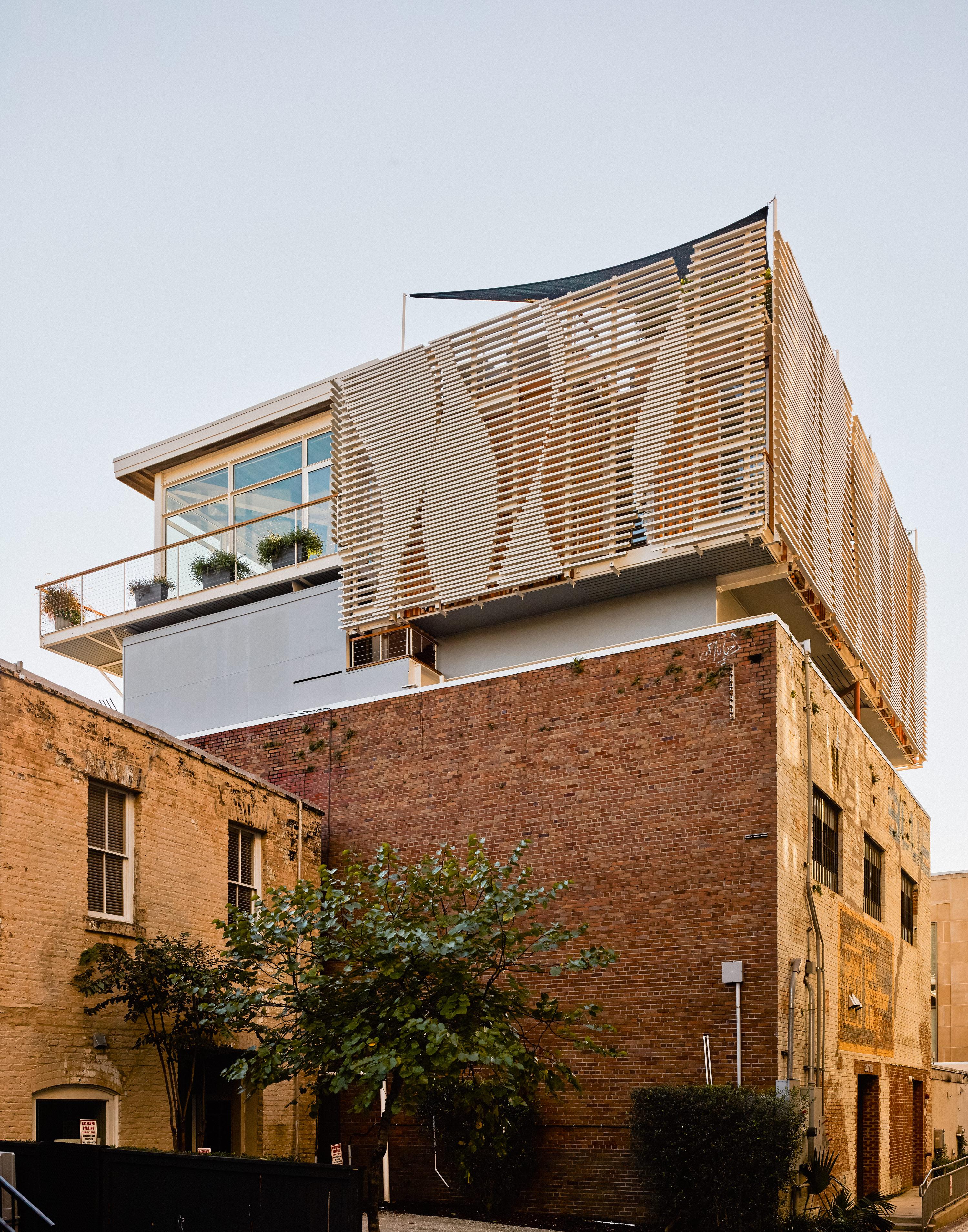 Fiberglass facade of warehouse in Charleston, South Carolina.