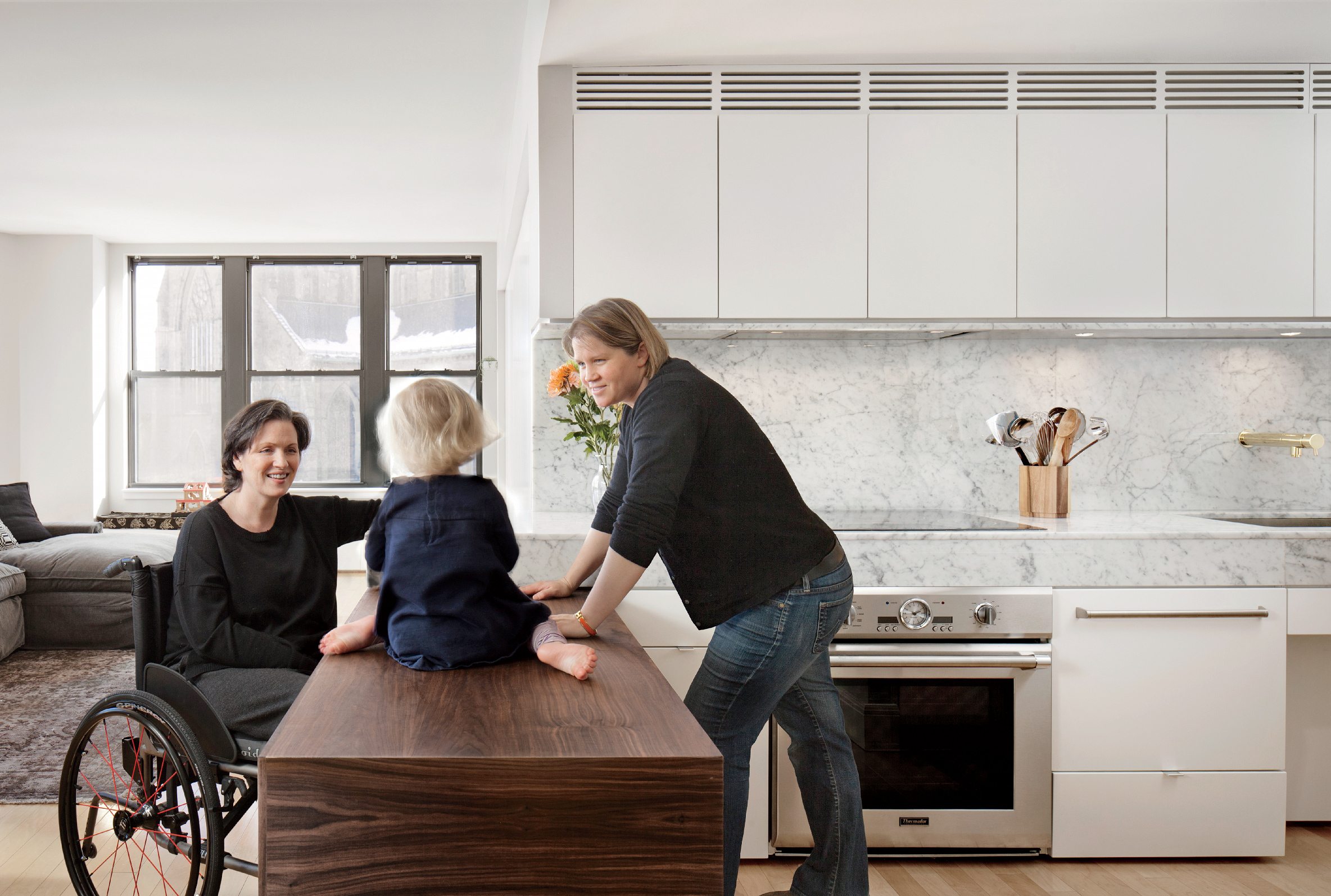 Mondern Boston family kitchen renovation that's wheelchair accessible
