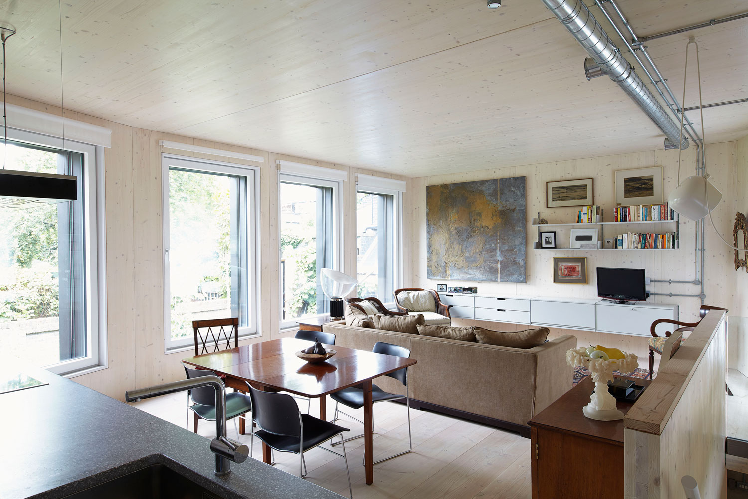 Open-plan living space in a London Passive House