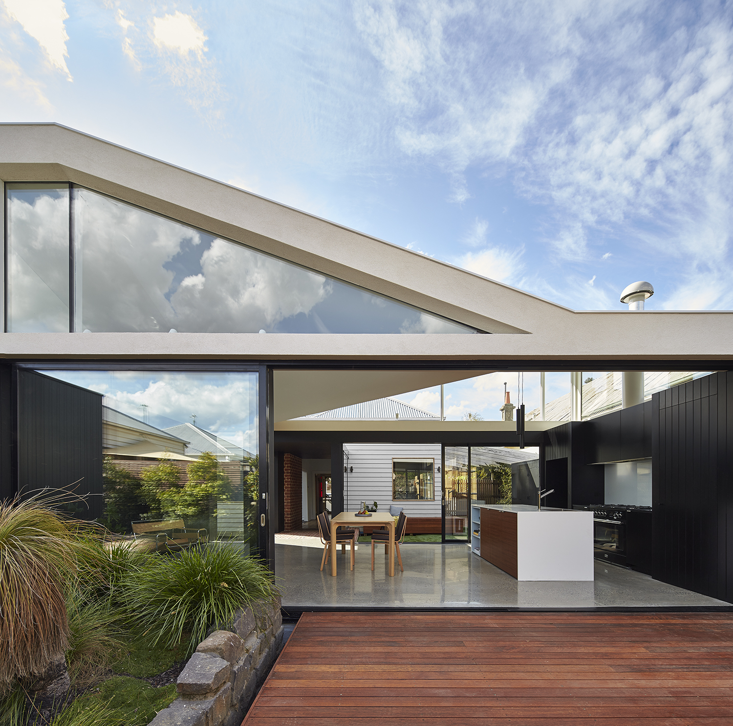 Deck of Australian addition to Edwardian home.