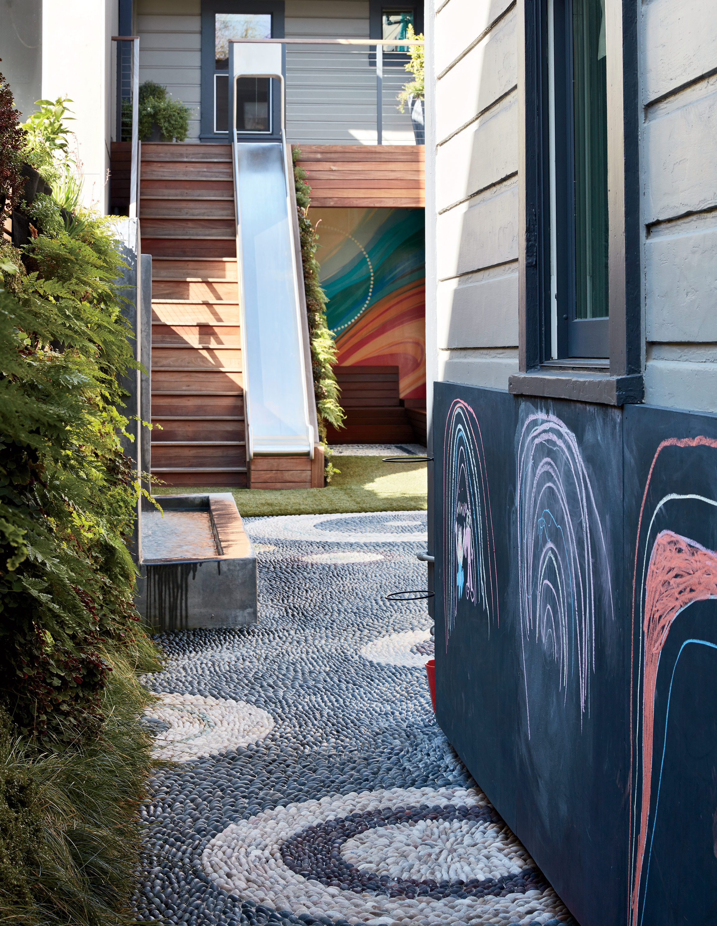 A backyard features a chalkboard paint wall