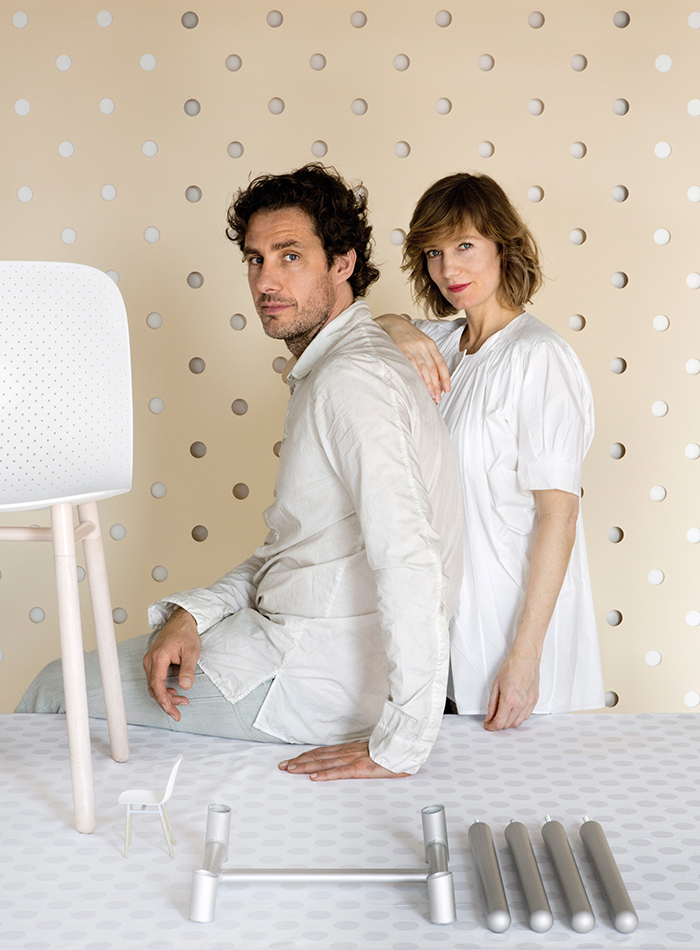 Stefan Scholten and Carole  Baijings portrait with Dot Chair for Hay